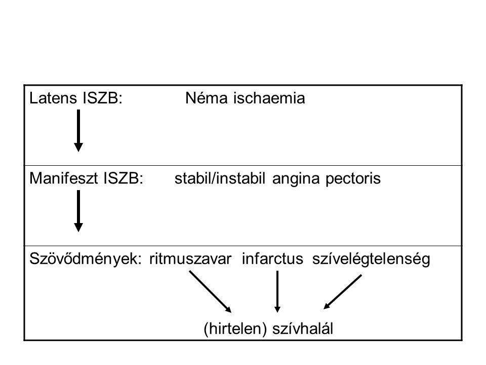 Az ISZB prognozisát meghatározó tényezők stenosis mértéke Éves halálozás (revascularisatio nélkül): 1-ér-beteg: 3-4 %, 2-ér-beteg: 6-8% 3-ér-beteg: 10-13% bal főtörzs: >30% ischaemia kiterjedtsége, anginák száma balkamra functió mértéke az ISZB progressziója: a rizikótényezők eliminálása sikeres-e.