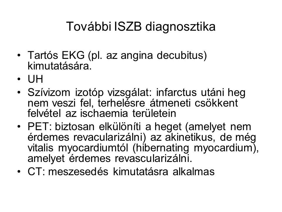 További ISZB diagnosztika Tartós EKG (pl. az angina decubitus) kimutatására. UH Szívizom izotóp vizsgálat: infarctus utáni heg nem veszi fel, terhelés