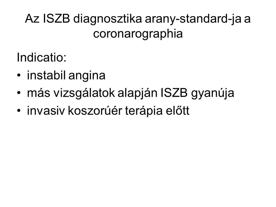 Az ISZB diagnosztika arany-standard-ja a coronarographia Indicatio: instabil angina más vizsgálatok alapján ISZB gyanúja invasiv koszorúér terápia elő
