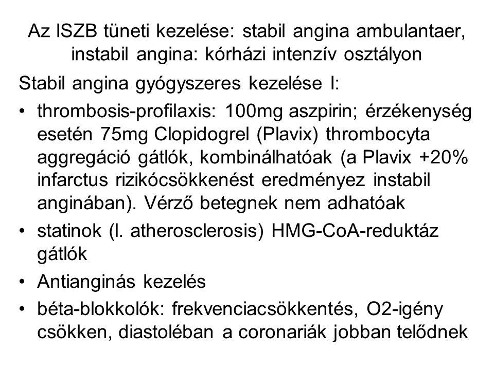 Az ISZB tüneti kezelése: stabil angina ambulantaer, instabil angina: kórházi intenzív osztályon Stabil angina gyógyszeres kezelése I: thrombosis-profi