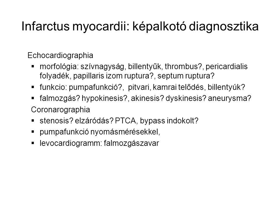 Infarctus myocardii: képalkotó diagnosztika Echocardiographia  morfológia: szívnagyság, billentyűk, thrombus?, pericardialis folyadék, papillaris izo