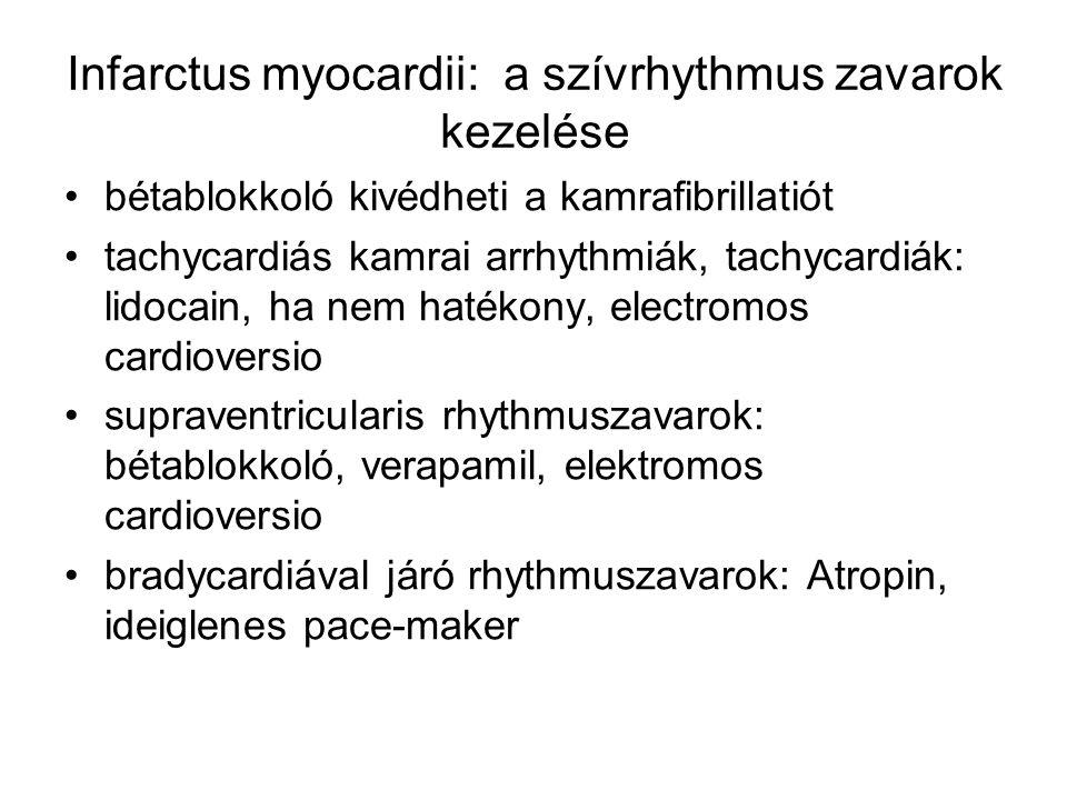 Infarctus myocardii: a szívrhythmus zavarok kezelése bétablokkoló kivédheti a kamrafibrillatiót tachycardiás kamrai arrhythmiák, tachycardiák: lidocai
