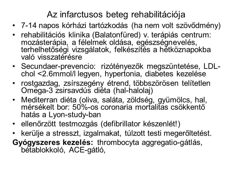Az infarctusos beteg rehabilitációja 7-14 napos kórházi tartózkodás (ha nem volt szövődmény) rehabilitációs klinika (Balatonfüred) v. terápiás centrum
