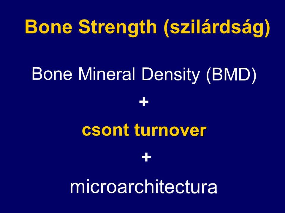 Bone Mineral Density (BMD) + csont turnover + microarchitectura Bone Strength (szilárdság)
