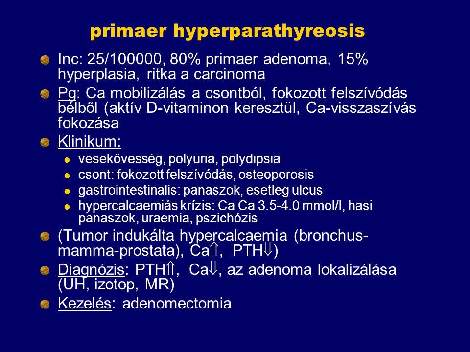 primaer hyperparathyreosis Inc: 25/100000, 80% primaer adenoma, 15% hyperplasia, ritka a carcinoma Pg: Ca mobilizálás a csontból, fokozott felszívódás