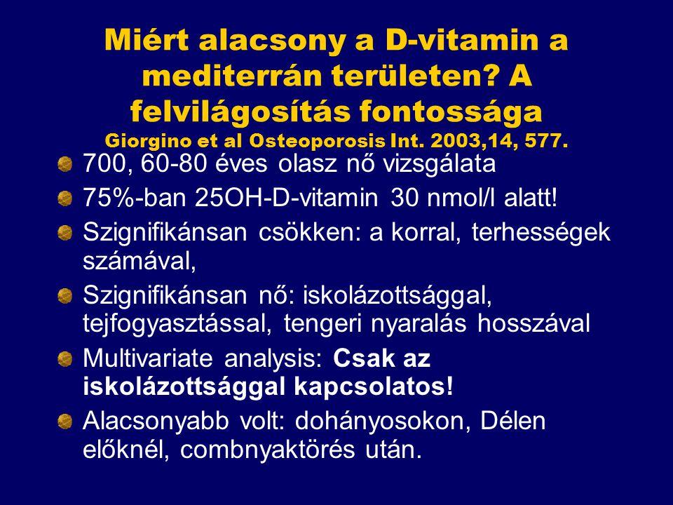 Miért alacsony a D-vitamin a mediterrán területen? A felvilágosítás fontossága Giorgino et al Osteoporosis Int. 2003,14, 577. 700, 60-80 éves olasz nő