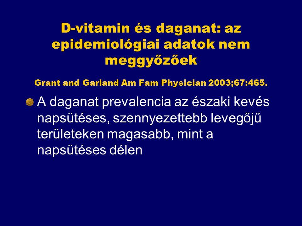 D-vitamin és daganat: az epidemiológiai adatok nem meggyőzőek Grant and Garland Am Fam Physician 2003;67:465. A daganat prevalencia az északi kevés na