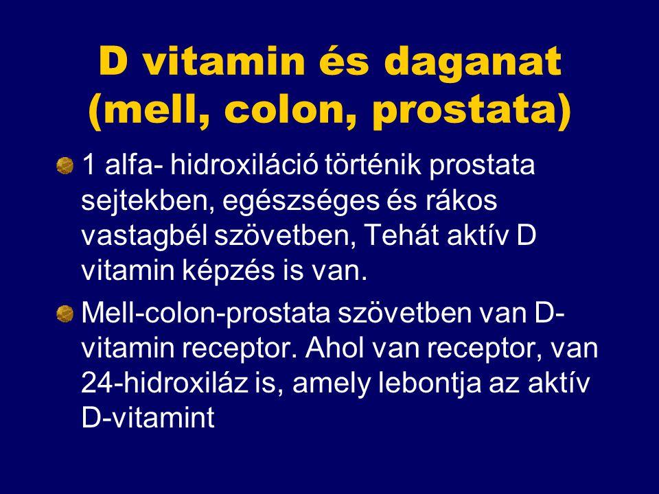 D vitamin és daganat (mell, colon, prostata) 1 alfa- hidroxiláció történik prostata sejtekben, egészséges és rákos vastagbél szövetben, Tehát aktív D