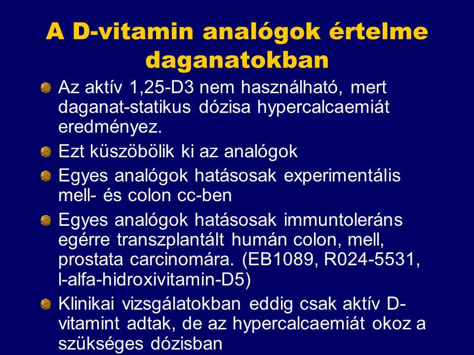 A D-vitamin analógok értelme daganatokban Az aktív 1,25-D3 nem használható, mert daganat-statikus dózisa hypercalcaemiát eredményez. Ezt küszöbölik ki
