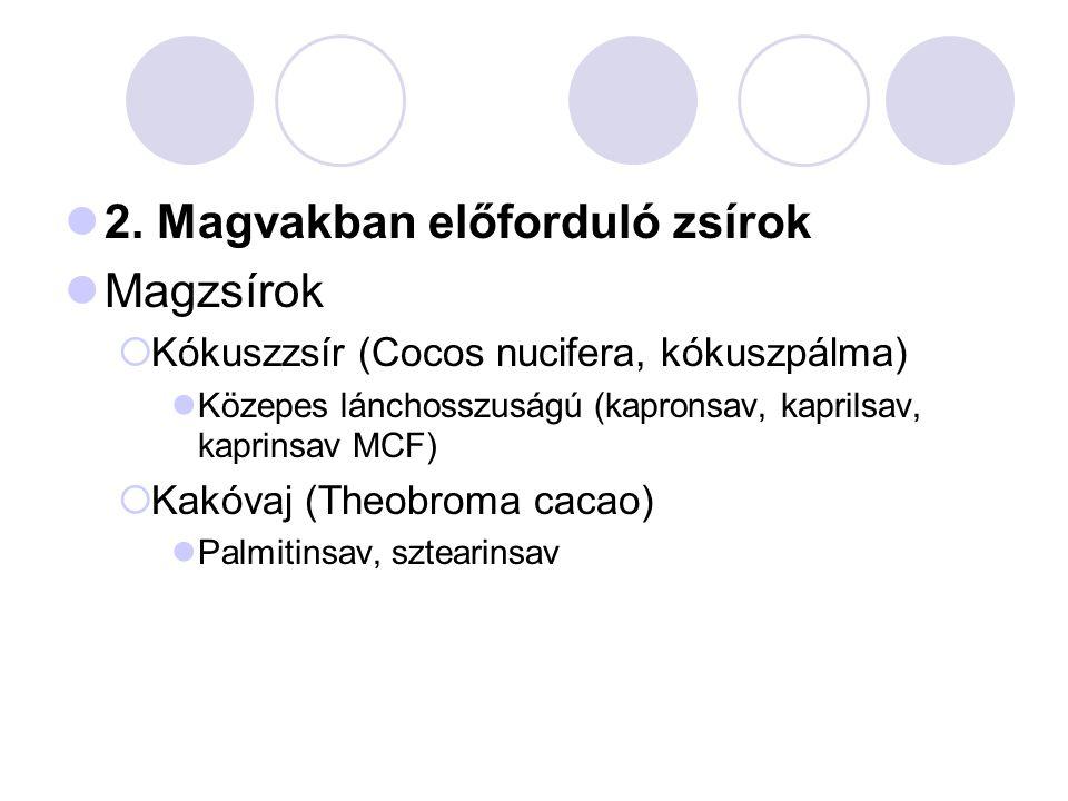 2. Magvakban előforduló zsírok Magzsírok  Kókuszzsír (Cocos nucifera, kókuszpálma) Közepes lánchosszuságú (kapronsav, kaprilsav, kaprinsav MCF)  Kak
