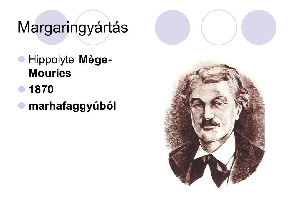 Margaringyártás Hippolyte Mège- Mouries 1870 marhafaggyúból
