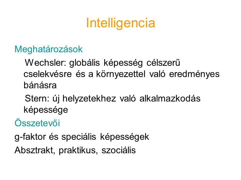 Intelligencia Meghatározások Wechsler: globális képesség célszerű cselekvésre és a környezettel való eredményes bánásra Stern: új helyzetekhez való al