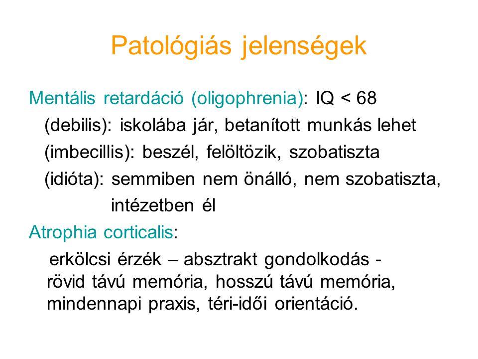 Patológiás jelenségek Mentális retardáció (oligophrenia): IQ < 68 (debilis): iskolába jár, betanított munkás lehet (imbecillis): beszél, felöltözik, s