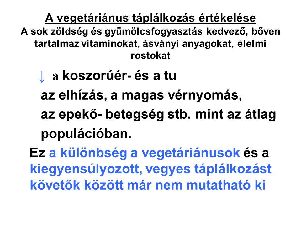 A vegetáriánus táplálkozás értékelése A sok zöldség és gyümölcsfogyasztás kedvező, bőven tartalmaz vitaminokat, ásványi anyagokat, élelmi rostokat ↓ a