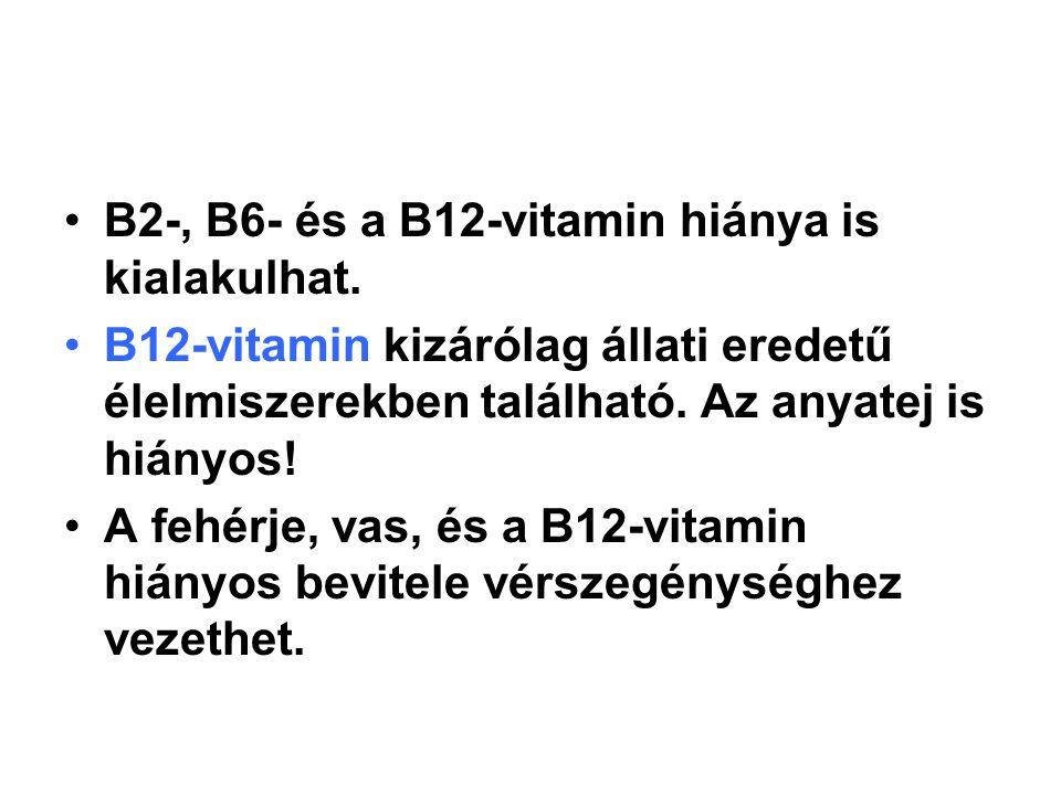 B2-, B6- és a B12-vitamin hiánya is kialakulhat. B12-vitamin kizárólag állati eredetű élelmiszerekben található. Az anyatej is hiányos! A fehérje, vas