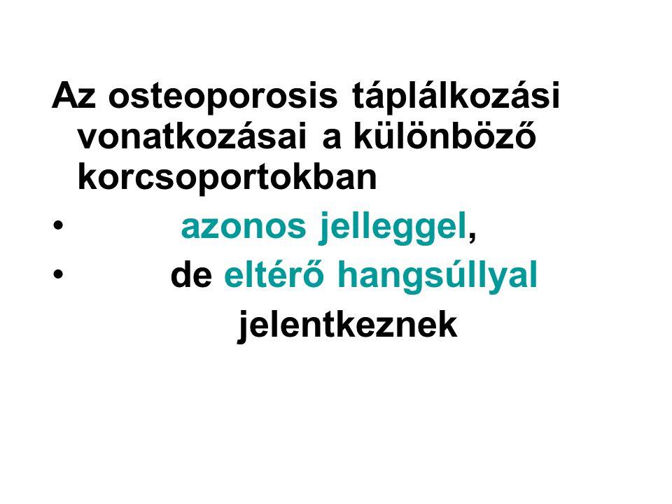 Az osteoporosis táplálkozási vonatkozásai a különböző korcsoportokban azonos jelleggel, de eltérő hangsúllyal jelentkeznek