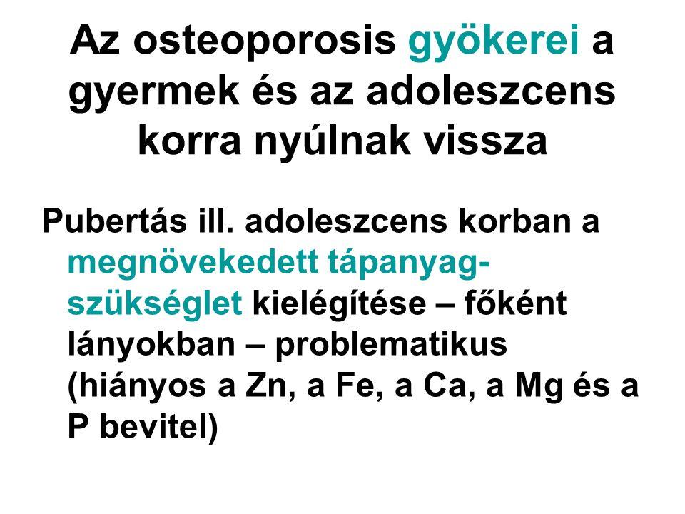 Az osteoporosis gyökerei a gyermek és az adoleszcens korra nyúlnak vissza Pubertás ill. adoleszcens korban a megnövekedett tápanyag- szükséglet kielég