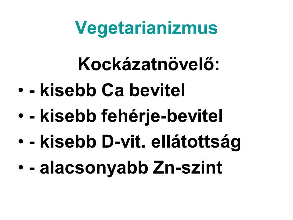 Vegetarianizmus Kockázatnövelő: - kisebb Ca bevitel - kisebb fehérje-bevitel - kisebb D-vit. ellátottság - alacsonyabb Zn-szint