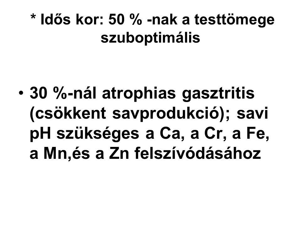 * Idős kor: 50 % -nak a testtömege szuboptimális 30 %-nál atrophias gasztritis (csökkent savprodukció); savi pH szükséges a Ca, a Cr, a Fe, a Mn,és a