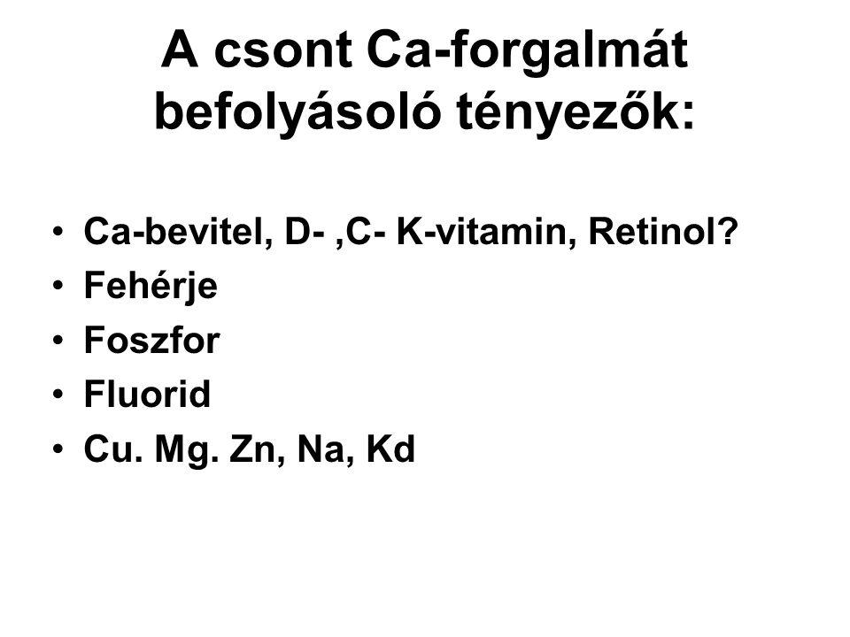 A csont Ca-forgalmát befolyásoló tényezők: Ca-bevitel, D-,C- K-vitamin, Retinol? Fehérje Foszfor Fluorid Cu. Mg. Zn, Na, Kd