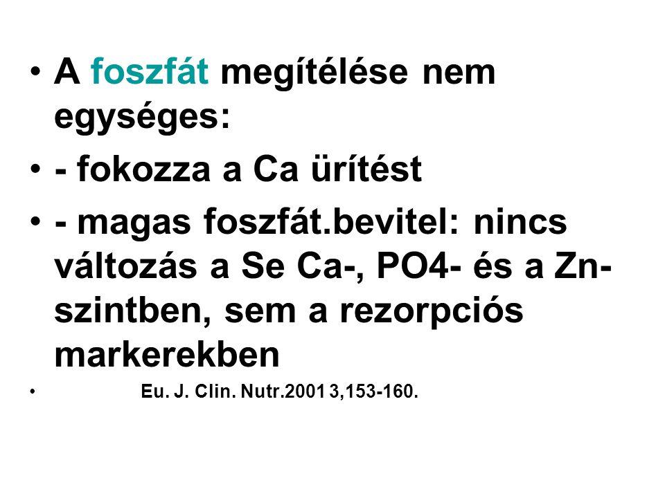 A foszfát megítélése nem egységes: - fokozza a Ca ürítést - magas foszfát.bevitel: nincs változás a Se Ca-, PO4- és a Zn- szintben, sem a rezorpciós m