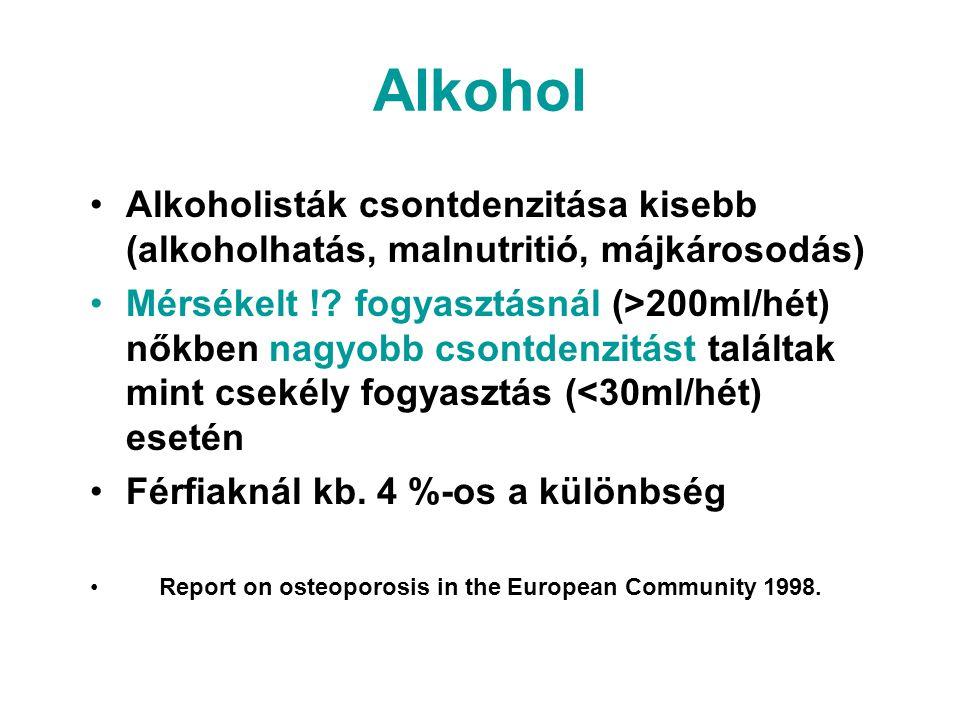 Alkohol Alkoholisták csontdenzitása kisebb (alkoholhatás, malnutritió, májkárosodás) Mérsékelt !? fogyasztásnál (>200ml/hét) nőkben nagyobb csontdenzi