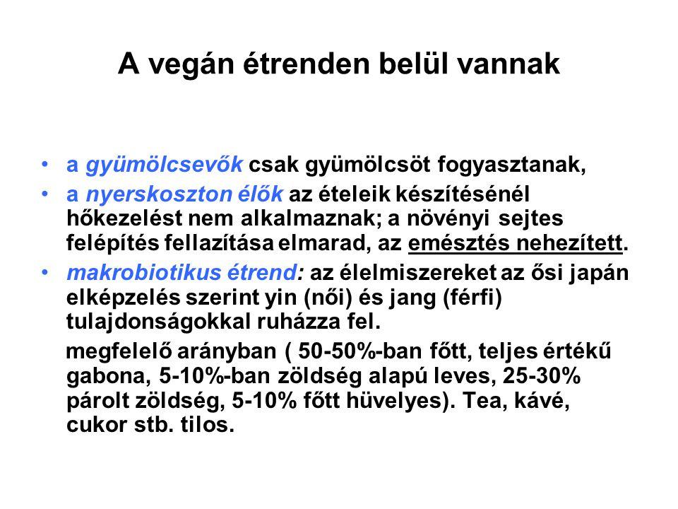 A vegán étrenden belül vannak a gyümölcsevők csak gyümölcsöt fogyasztanak, a nyerskoszton élők az ételeik készítésénél hőkezelést nem alkalmaznak; a n