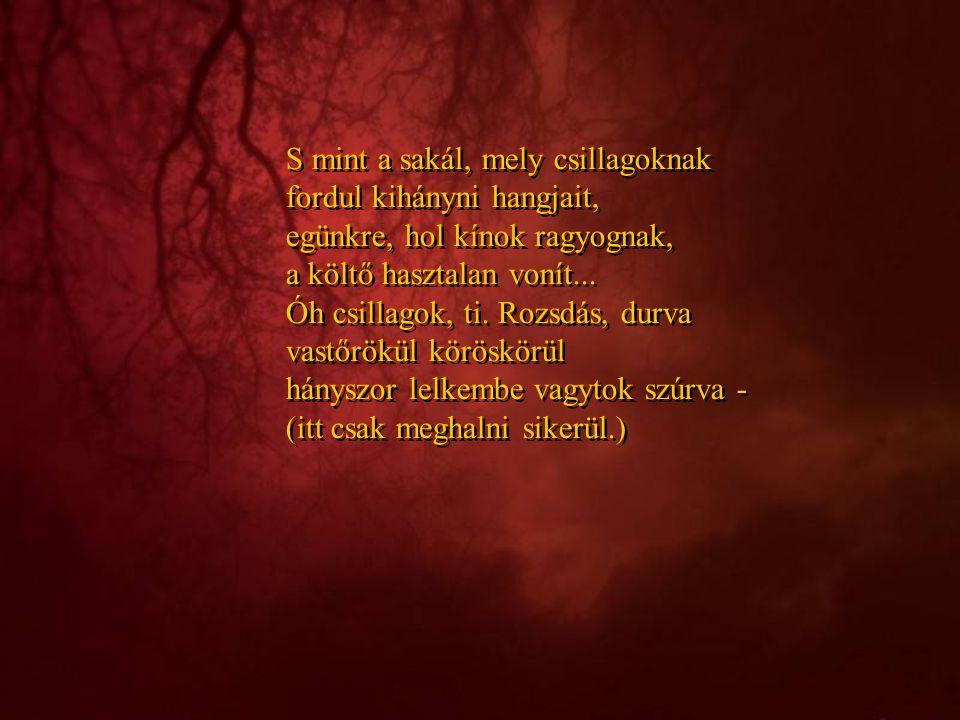 S mint a sakál, mely csillagoknak fordul kihányni hangjait, egünkre, hol kínok ragyognak, a költő hasztalan vonít...