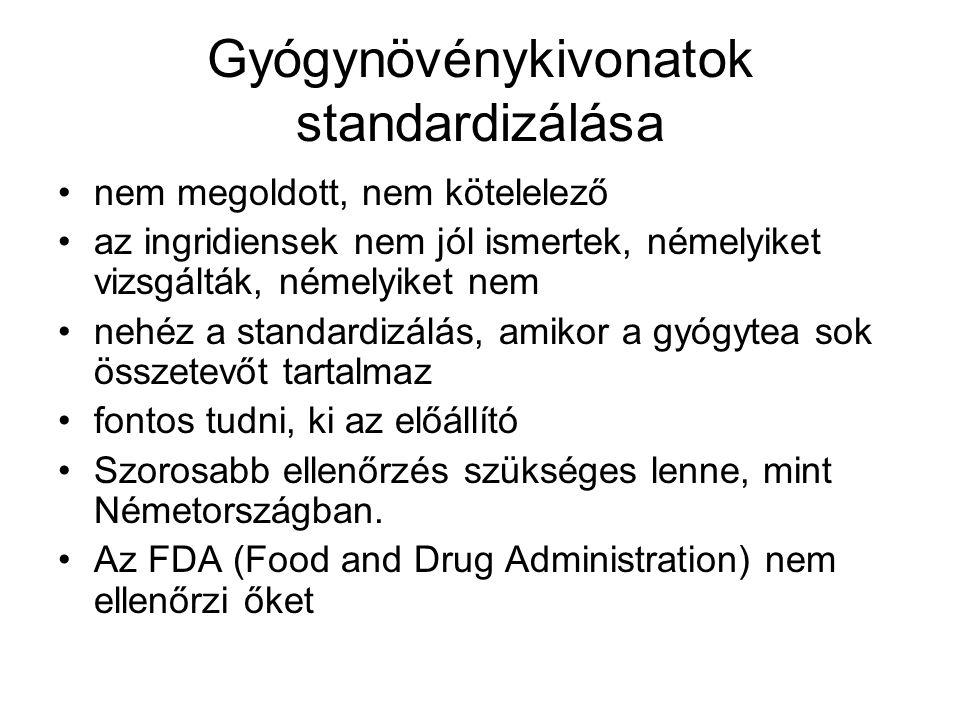 Gyógynövénykivonatok standardizálása nem megoldott, nem kötelelező az ingridiensek nem jól ismertek, némelyiket vizsgálták, némelyiket nem nehéz a sta