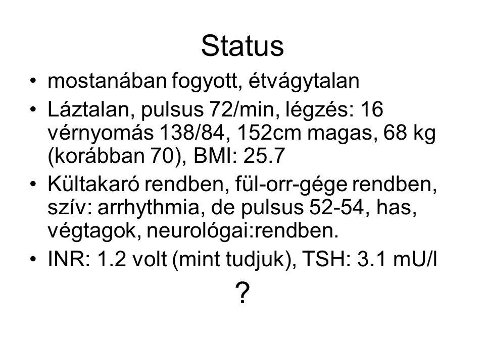 Status mostanában fogyott, étvágytalan Láztalan, pulsus 72/min, légzés: 16 vérnyomás 138/84, 152cm magas, 68 kg (korábban 70), BMI: 25.7 Kültakaró ren