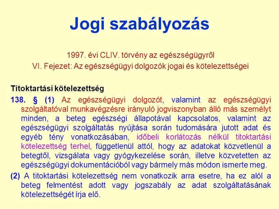 Jogi szabályozás 1997. évi CLIV. törvény az egészségügyről VI. Fejezet: Az egészségügyi dolgozók jogai és kötelezettségei Titoktartási kötelezettség 1