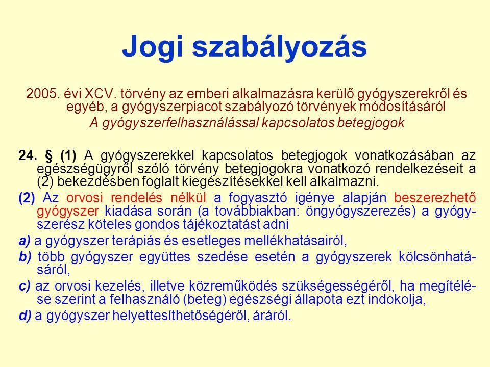 Jogi szabályozás 2005. évi XCV. törvény az emberi alkalmazásra kerülő gyógyszerekről és egyéb, a gyógyszerpiacot szabályozó törvények módosításáról A