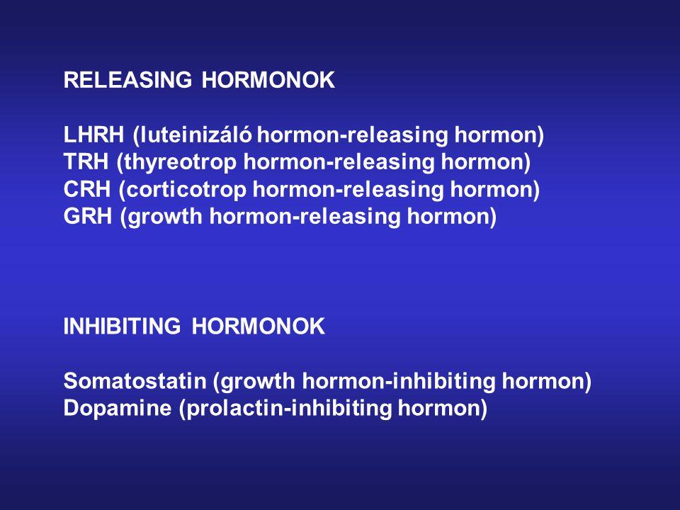 RELEASING HORMONOK LHRH (luteinizáló hormon-releasing hormon) TRH (thyreotrop hormon-releasing hormon) CRH (corticotrop hormon-releasing hormon) GRH (