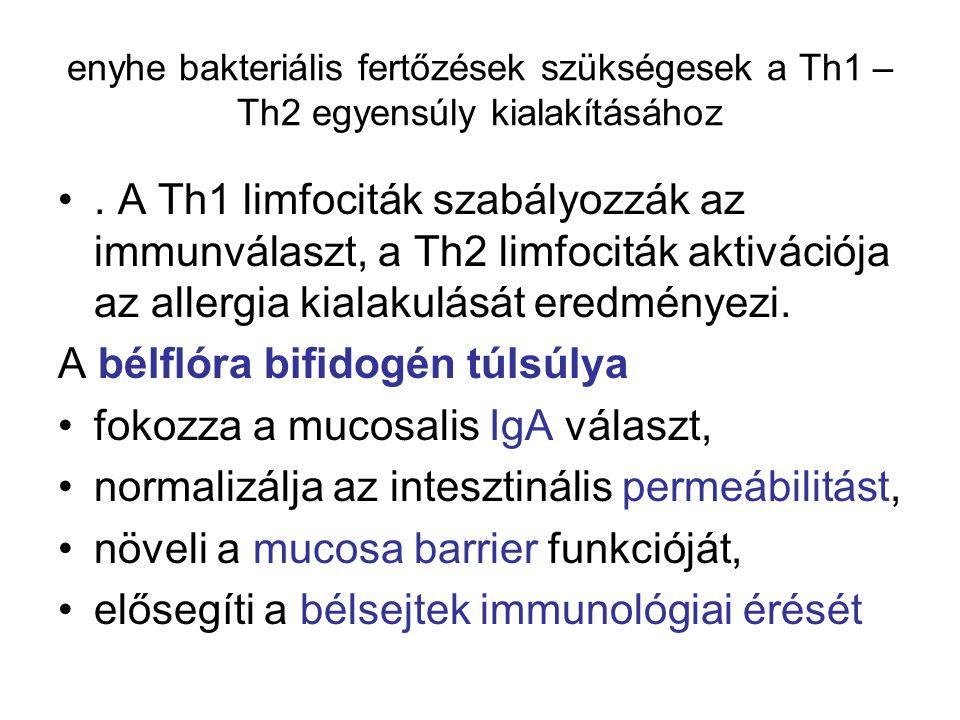 enyhe bakteriális fertőzések szükségesek a Th1 – Th2 egyensúly kialakításához. A Th1 limfociták szabályozzák az immunválaszt, a Th2 limfociták aktivác