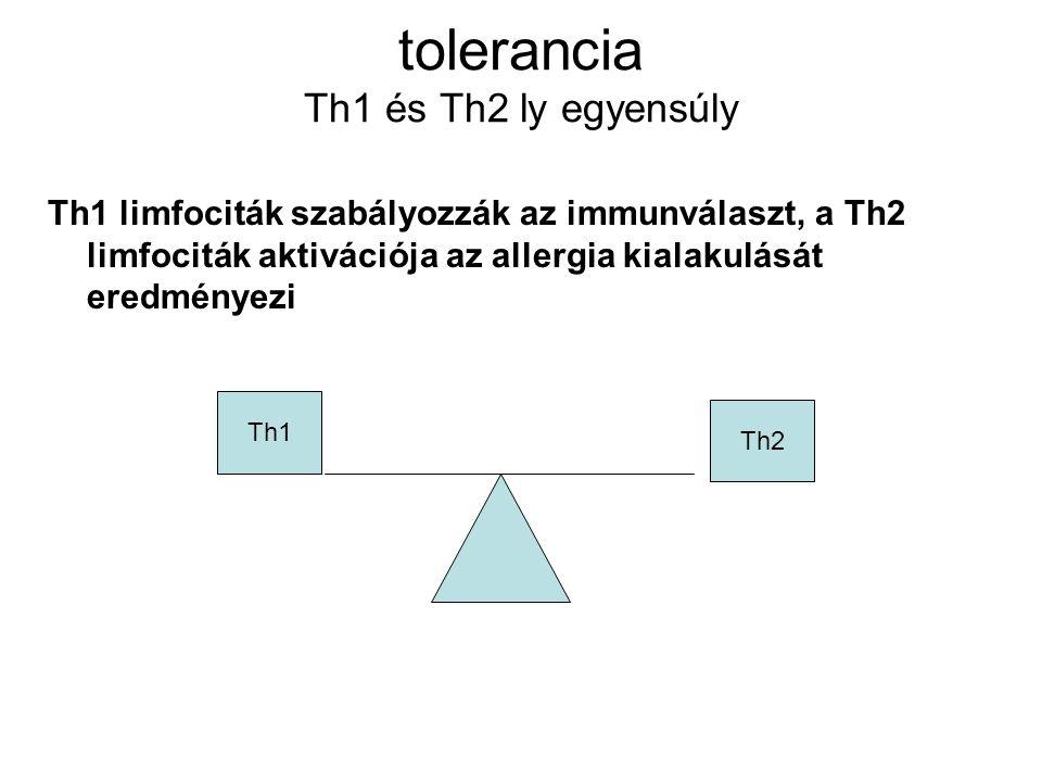 tolerancia Th1 és Th2 ly egyensúly Th1 limfociták szabályozzák az immunválaszt, a Th2 limfociták aktivációja az allergia kialakulását eredményezi Th1 Th2