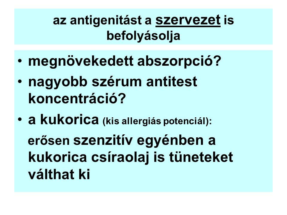 az antigenitást a szervezet is befolyásolja megnövekedett abszorpció? nagyobb szérum antitest koncentráció? a kukorica (kis allergiás potenciál): erős