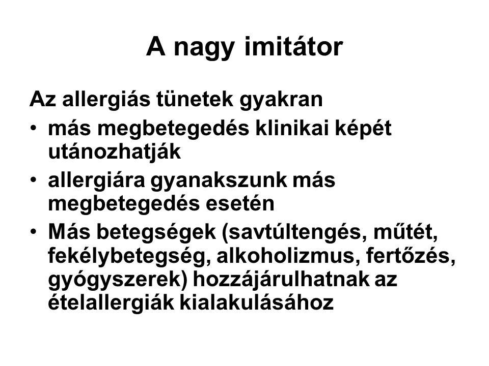 A nagy imitátor Az allergiás tünetek gyakran más megbetegedés klinikai képét utánozhatják allergiára gyanakszunk más megbetegedés esetén Más betegsége