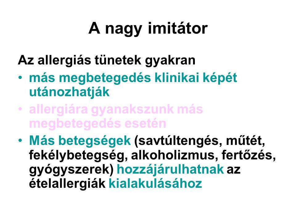 A nagy imitátor Az allergiás tünetek gyakran más megbetegedés klinikai képét utánozhatják allergiára gyanakszunk más megbetegedés esetén Más betegségek (savtúltengés, műtét, fekélybetegség, alkoholizmus, fertőzés, gyógyszerek) hozzájárulhatnak az ételallergiák kialakulásához