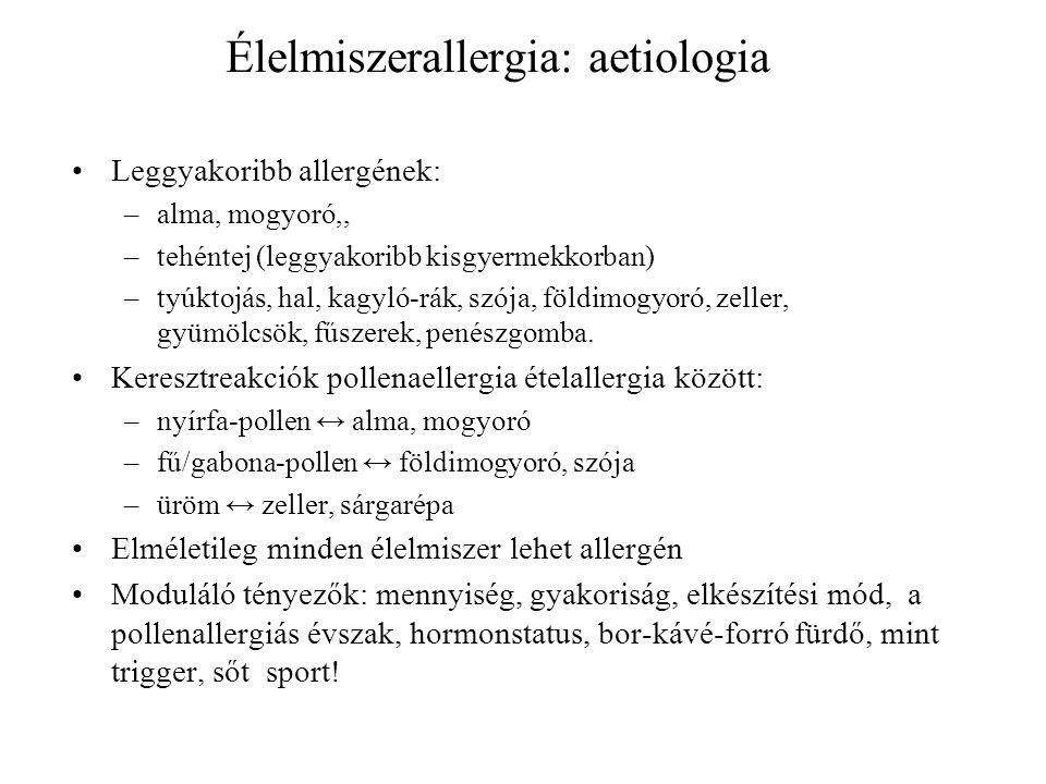 Élelmiszerallergia: aetiologia Leggyakoribb allergének: –alma, mogyoró,, –tehéntej (leggyakoribb kisgyermekkorban) –tyúktojás, hal, kagyló-rák, szója,