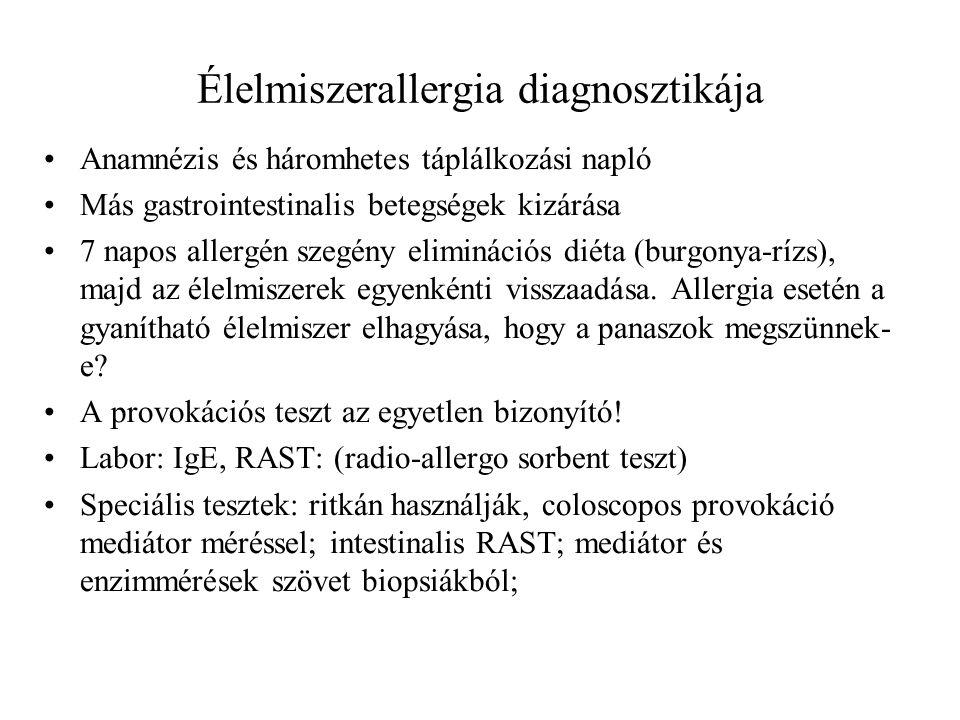 Élelmiszerallergia diagnosztikája Anamnézis és háromhetes táplálkozási napló Más gastrointestinalis betegségek kizárása 7 napos allergén szegény elimi
