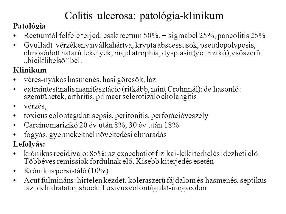 Colitis ulcerosa: patológia-klinikum Patológia Rectumtól felfelé terjed: csak rectum 50%, + sigmabél 25%, pancolitis 25% Gyulladt vérzékeny nyálkahárt