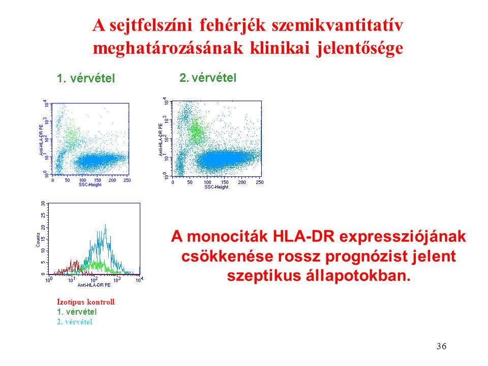 36 A sejtfelszíni fehérjék szemikvantitatív meghatározásának klinikai jelentősége Izotípus kontroll 1. vérvétel 2. vérvétel 1. vérvétel 2. vérvétel A