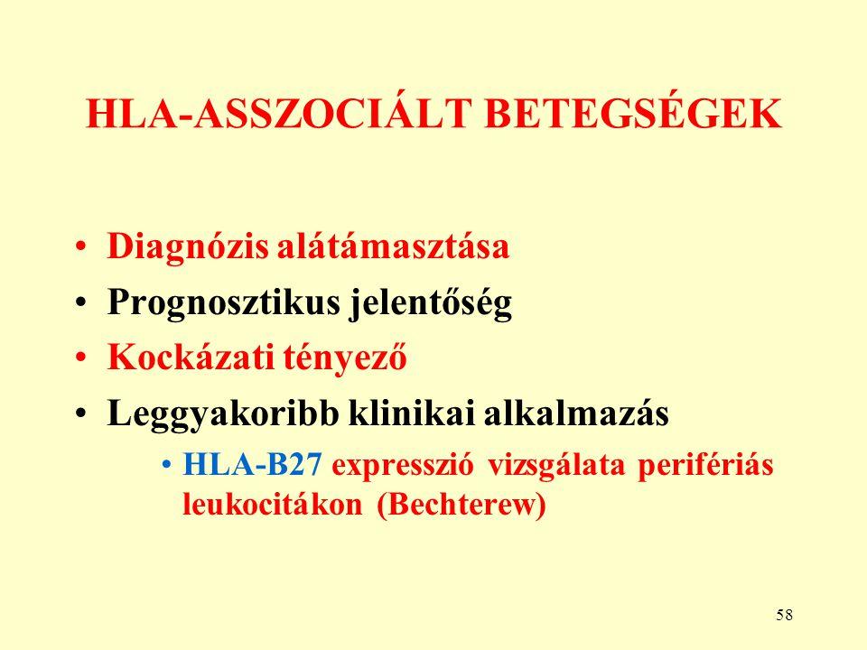58 HLA-ASSZOCIÁLT BETEGSÉGEK Diagnózis alátámasztása Prognosztikus jelentőség Kockázati tényező Leggyakoribb klinikai alkalmazás HLA-B27 expresszió vi