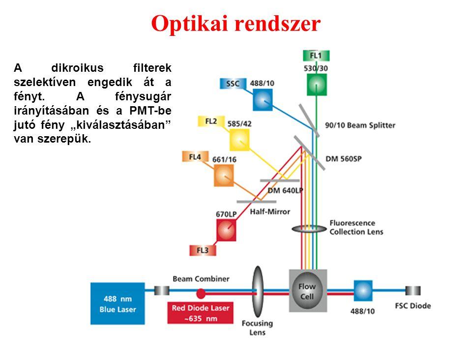 """6 Optikai rendszer A dikroikus filterek szelektíven engedik át a fényt. A fénysugár irányításában és a PMT-be jutó fény """"kiválasztásában"""" van szerepük"""