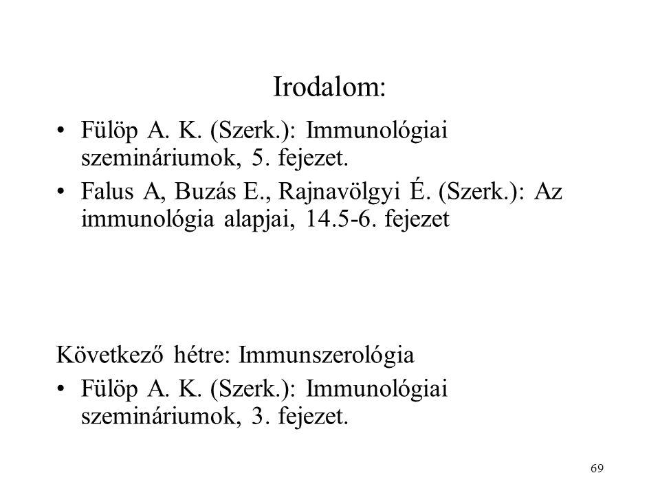 69 Irodalom: Fülöp A. K. (Szerk.): Immunológiai szemináriumok, 5. fejezet. Falus A, Buzás E., Rajnavölgyi É. (Szerk.): Az immunológia alapjai, 14.5-6.