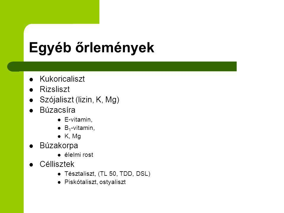 Egyéb őrlemények Kukoricaliszt Rizsliszt Szójaliszt (lizin, K, Mg) Búzacsíra E-vitamin, B 1 -vitamin, K, Mg Búzakorpa élelmi rost Céllisztek Tésztalis