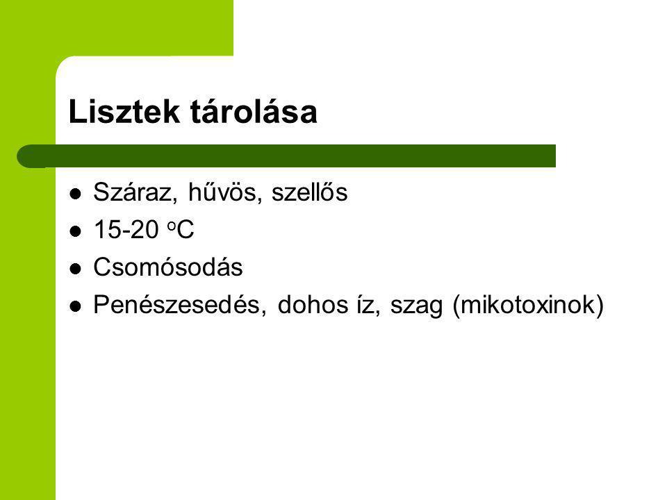 Lisztek tárolása Száraz, hűvös, szellős 15-20 o C Csomósodás Penészesedés, dohos íz, szag (mikotoxinok)