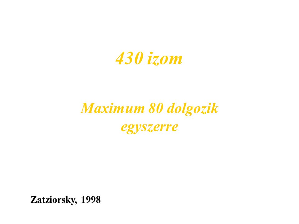 Miozin molekulák 230-250 After model presented by Huxley, 1963 M lemez test nyak fej A vastag filamentum