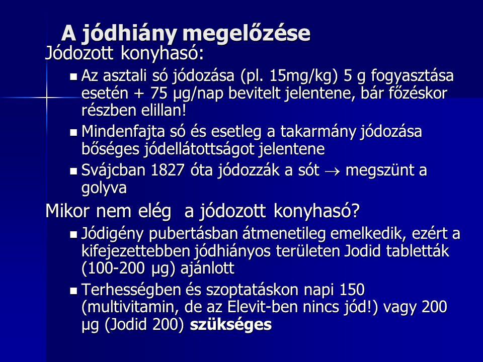 A jódhiány megelőzése Jódozott konyhasó: Az asztali só jódozása (pl. 15mg/kg) 5 g fogyasztása esetén + 75 µg/nap bevitelt jelentene, bár főzéskor rész