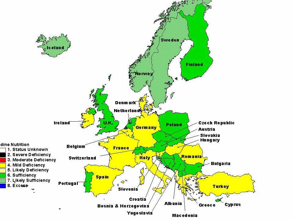 Magyarország 4/5-e enyhén-mérsékelten jódszegény terület: 50-100 (helyenként kevesebb) µg/nap